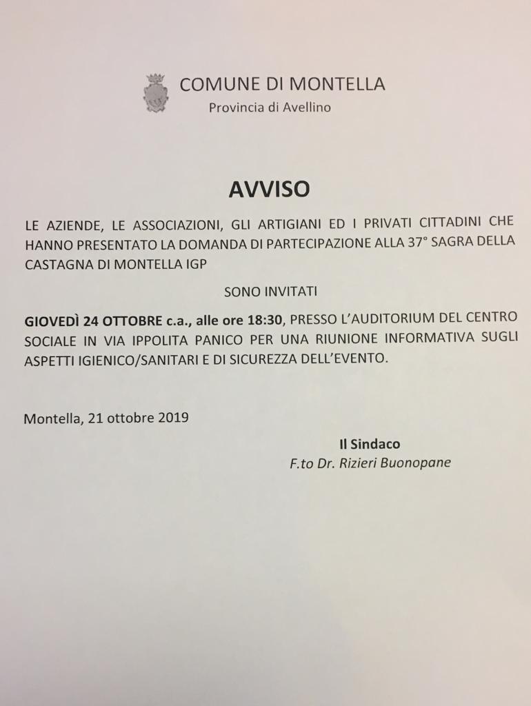 RIUNIONE ASPETTI IGIENICO/SANITARI E SICUREZZA DELL'EVENTO