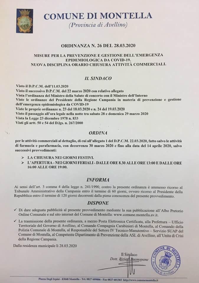 NUOVI ORARI DI APERTURA E CHIUSURA DELLE ATTIVITÀ COMMERCIALI