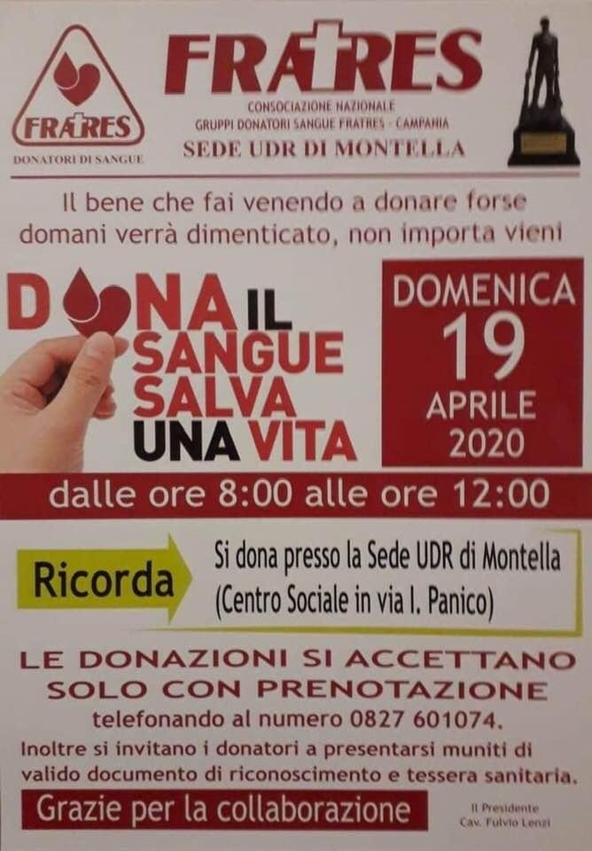 Donazione sangue del 19/04: Solo su prenotazione