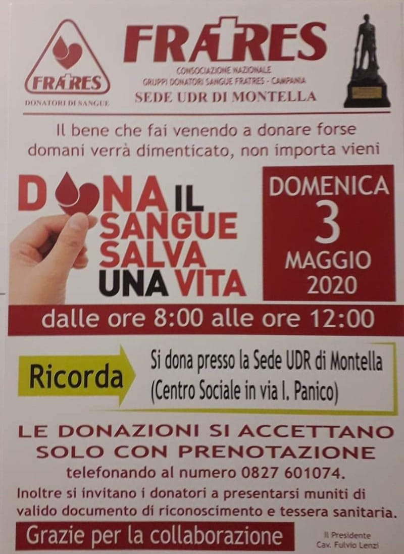 Donazioni del sangue: Domenica 3 Maggio
