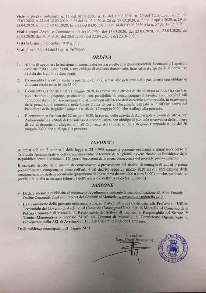 INTEGRAZIONE E PARZIALE MODIFICA ORDINANZA N.37 DEL 17.05.2020