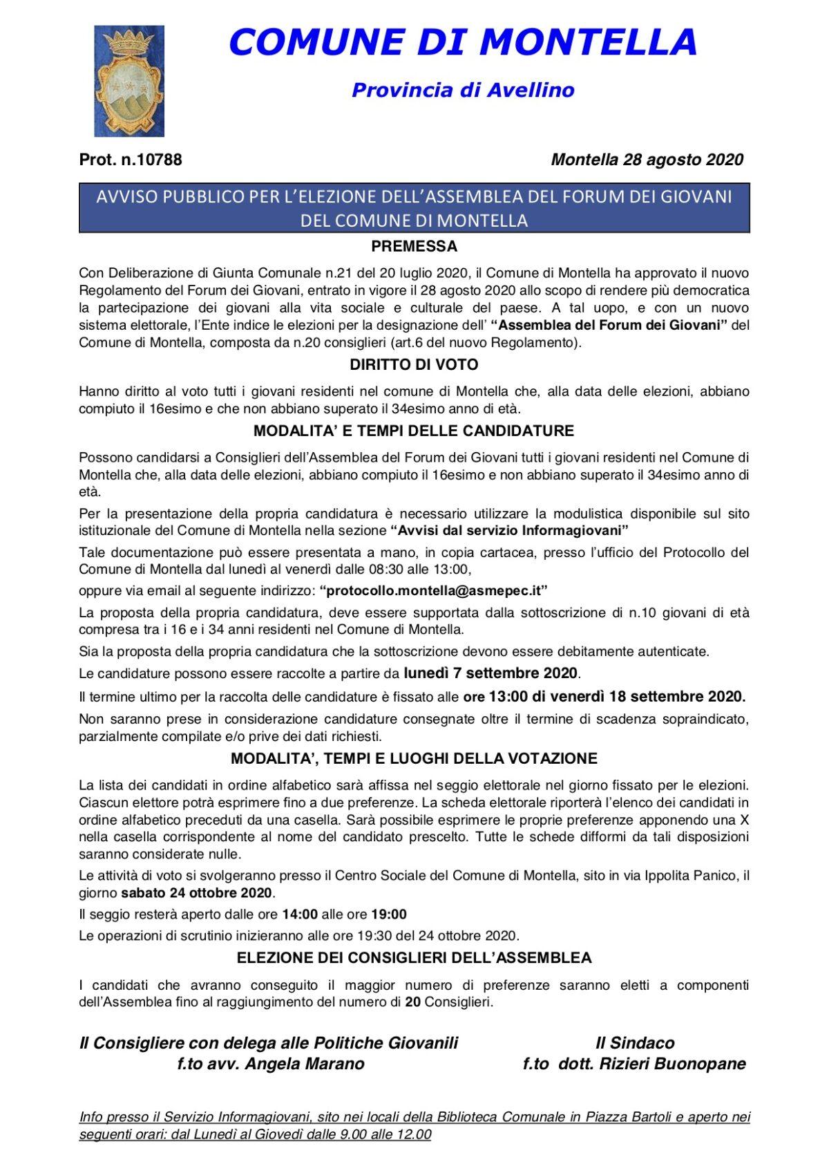 ELEZIONI DELL'ASSEMBLEA DEL FORUM DEI GIOVANI