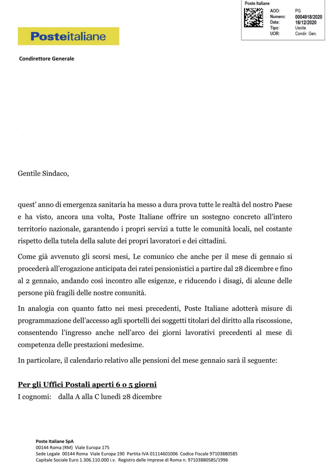 Comunicazione ritiro pensioni UFFICIO POSTALE