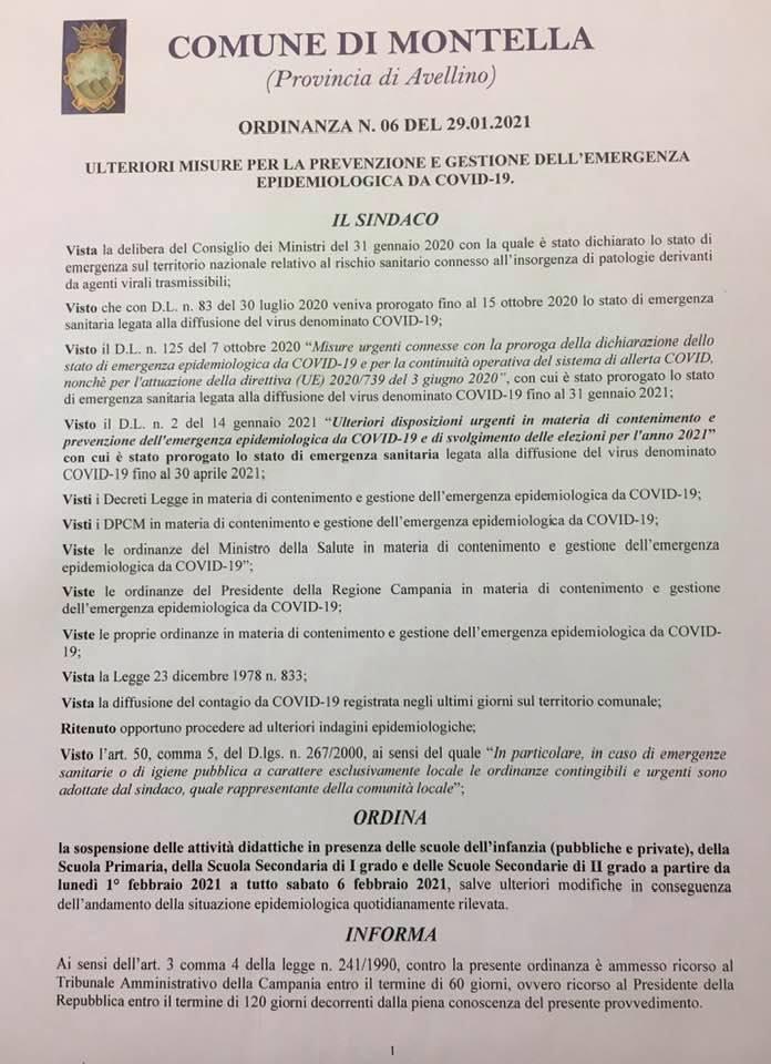 SOSPENSIONE DELLE ATTIVITÀ DIDATTICHE IN PRESENZA PER TUTTE LE SCUOLE DI OGNI ORDINE E GRADO