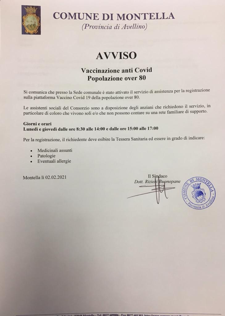 AVVISO VACCINAZIONI ANTI-COVID POPOLAZIONE OVER 80 presso la sede comunale