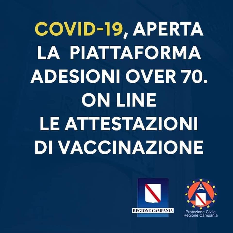 COVID-19, APERTA PIATTAFORMA ADESIONI OVER 70 ON LINE LE ATTESTAZIONI DI VACCINAZIONE