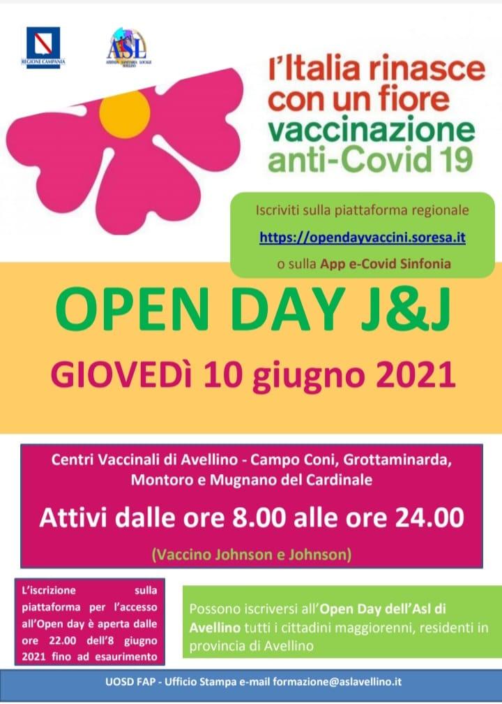 OPEN DAY J&J SABATO 12 GIUGNO, DALLE ORE 22.00 APERTE LE PRENOTAZIONI