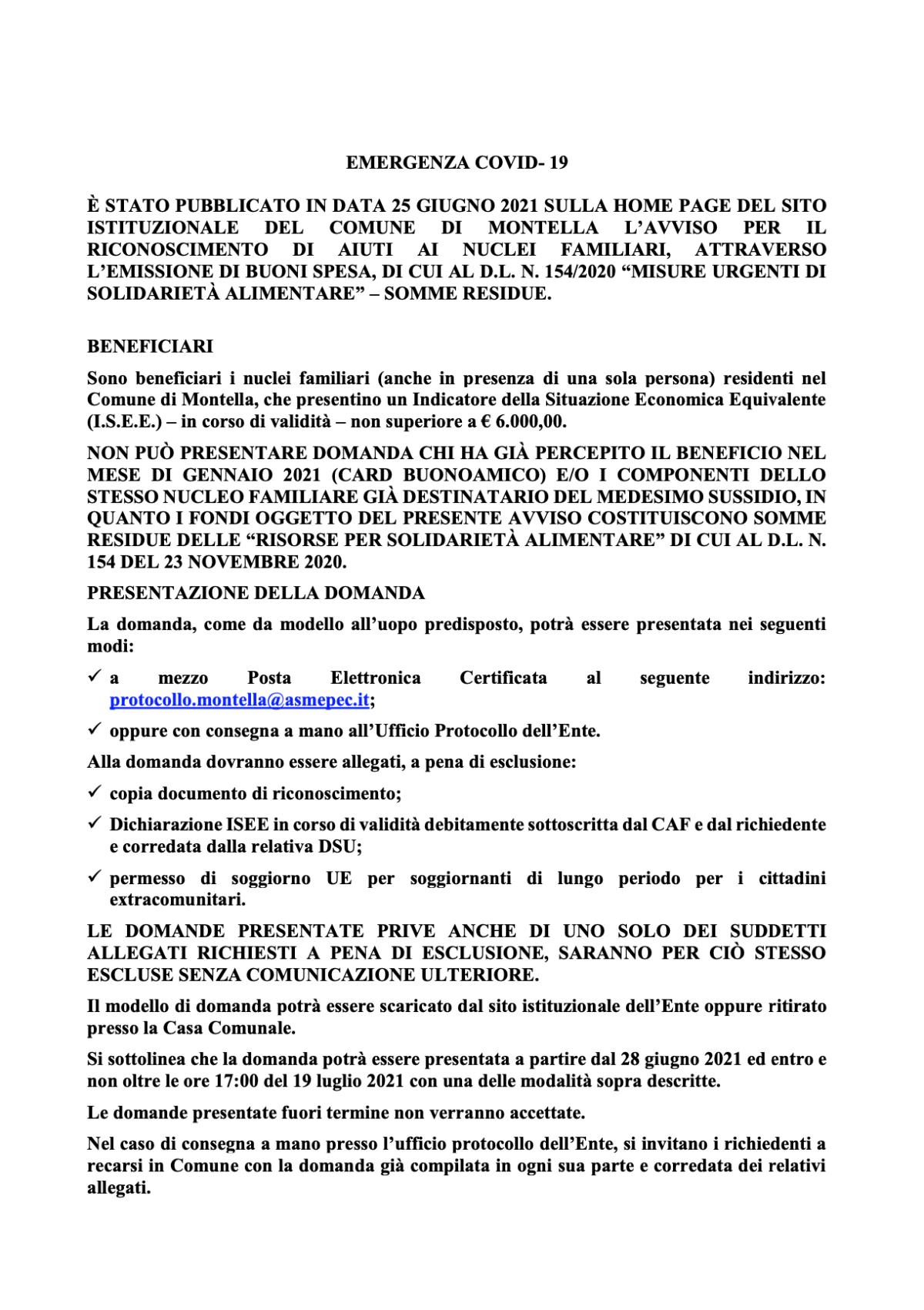 Covid-19: AIUTI AI NUCLEI FAMILIARI, ATTRAVERSO L'EMISSIONE DI BUONI SPESA