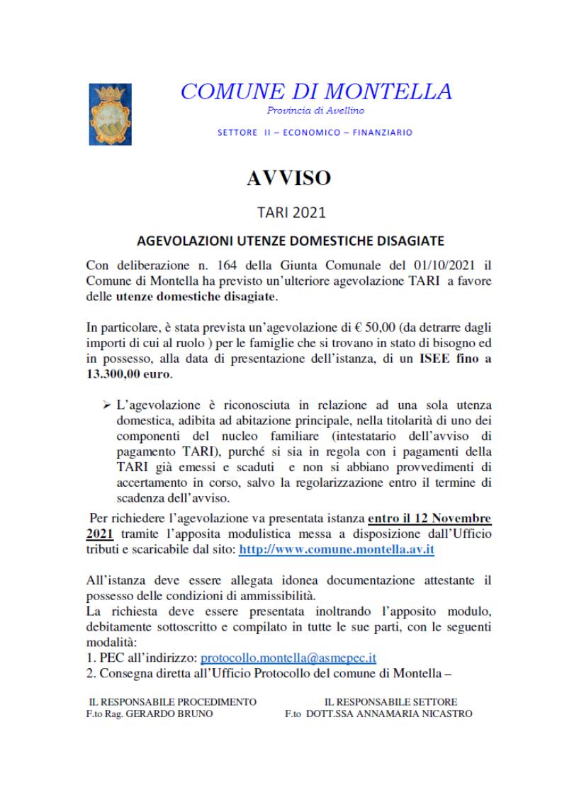 AVVISO TARI 2021 AGEVOLAZIONI UTENZE DOMESTICHE DISAGIATE